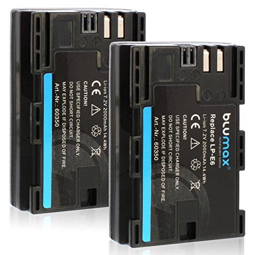 2x Blumax LP-E6 Akku kompatibel mit Canon EOS 60D 70D 6D 60D 70D 5D Mark 3 2000mAh 7,2V 14,4Whmehr leistung als Original akku
