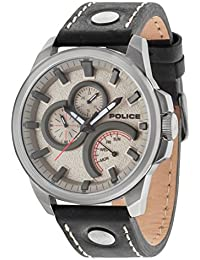 Police Men's Quartz Watch with Grey Dial Analogue Display and Black Leather Strap 14799JSU/61