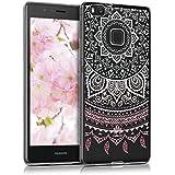 kwmobile Crystal Case Hülle für Huawei P9 Lite aus TPU Silikon mit Indische Sonne Design - Schutzhülle Cover klar in Rosa Weiß Transparent