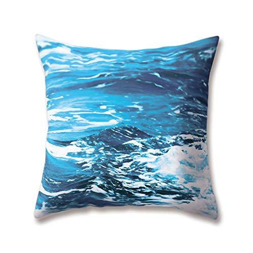 OPoplizg Soft Plush Blue Cushion Covers Sea Marine Ocean Waves Beach Tropical Island Seawater Paintings 30cm x 30cm(12 x 12inch) Throw Soft Plush Pillow Cases for Home Sofa Bed Decorative (Halloween Wave New Bar)