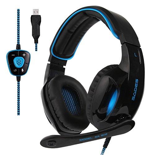 SADES New Version SA902 Blue 7.1 Surround Sound Gaming Headset