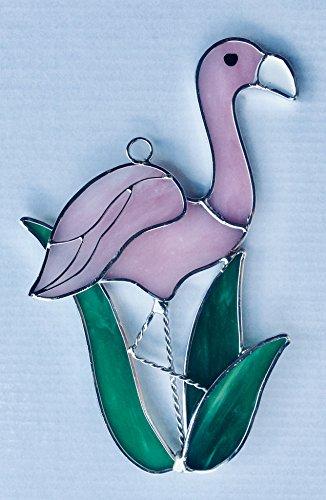 N/A NA Flamingo Suncatcher in gebeizt Glas (Tropische Zimmer Dekor)