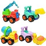 MagiDeal 4Pcs Inertia Mini Plastic Construction Vehicles Engineering Cars Dump Car Dump Truck Excavator Road Roller Model Classic Toys Gifts For Boys