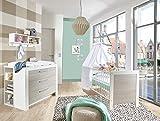 lifestyle4living Babyzimmer, Kinderzimmer, Babymöbel, Komplett-Set, Babyausstattung, Babybett, Wickelkommode, Schrank, Mädchen, Junge, weiß, Silber, grau, Ulme