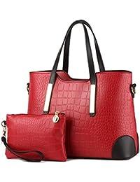 Pahajim Pu Leather Women Top Handle Satchel Handbags Tote Purse Crocodile Handbag (Wine Red)