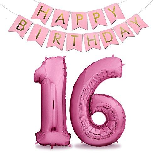 Zenball pinke Luftballons Geburtstag XXL 101cm Pink Set mit Girlande - Riesen Folienballons in 40