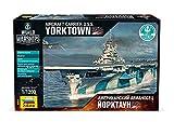 ZVEZDA 9203 Flugzeugträger Yorktown Plastikmodellbausatz Maßstab 1/1200 49 Details Länge 20.5 cm