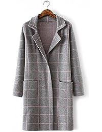 Ladies Nueva elegante oscuro botón Knit Sweater Coat