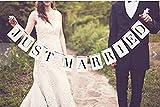Rechteck Just Married Hochzeit Girlande Wimpelkette Photo Booth Requisiten Brautschmuck Dusche Party Dekoration für