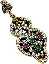 Silvestoo India Emerald, Ruby & Topaz (Lab) 925 Sterling Silver With Bronze Pendant PG-104574