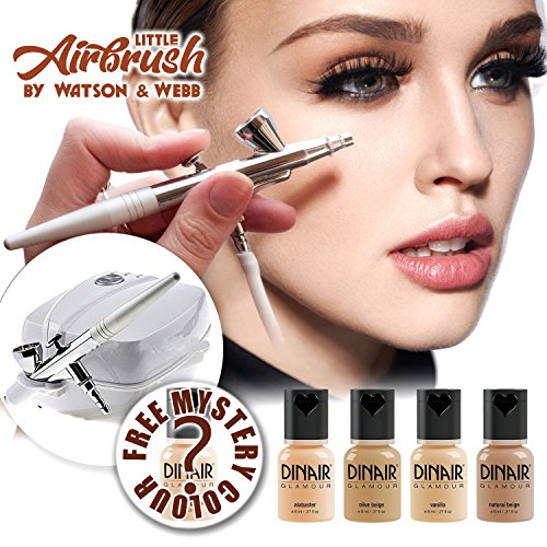 Airbrush make-up Kit | Little Airbrush and 5 Dinair light foundation makeups.