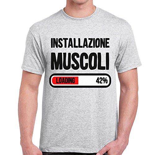 CHEMAGLIETTE! - Maglietta Divertente Uomo T-Shirt Con Frasi Simpatiche Installazione Muscoli, Colore: Cenere, Taglia: L
