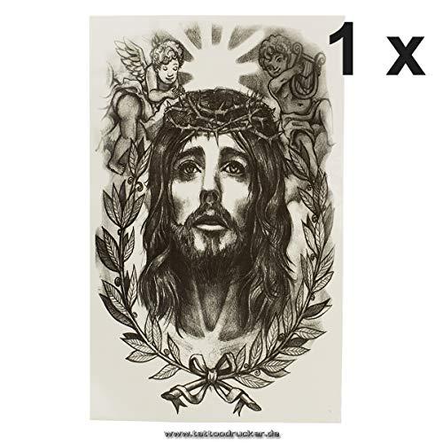 1 x Jesus Rosenkranz Engel - Religiöses schwarzes Body Temporary Fake Tattoo - AX149 (1)