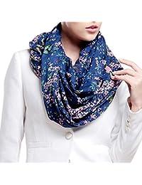 Tangda Foulard Echarpe Imprimé Fleur et Oiseau Chiffon soie polyester pour Femme/Fille- Beaucoup de Couleurs disponibles