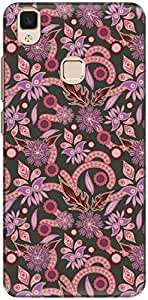The Racoon Lean printed designer hard back mobile phone case cover for Vivo V3. (Pink Flowe)