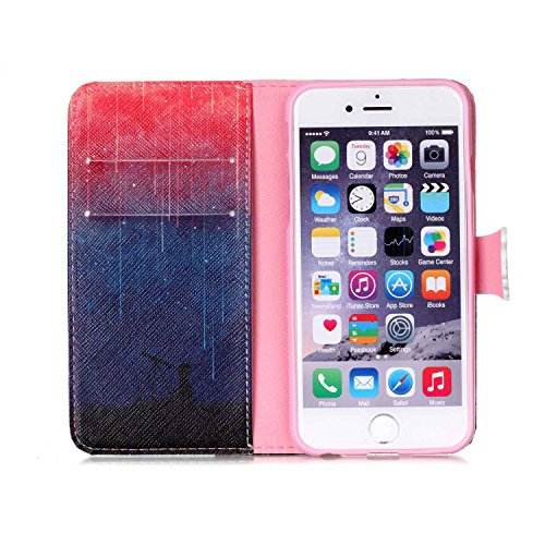 iPhone 6S Plus Portefeuille Coque, iPhone 6 Plus Coque en cuir, Apple iPhone 6 Plus 6S Plus Paillettes Coque, CE fait à la main Bling Diamants Papillon en relief de pissenlit PU Cuir avec Support, poi P-Meteor Shower