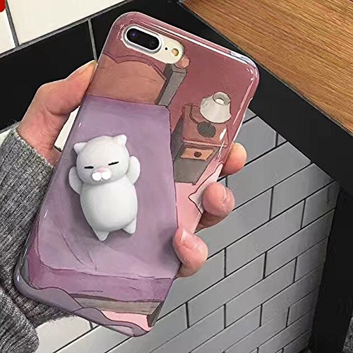 Finger Decompression phone case ,3D Soft Silicone Pinch Squishy Cat TPU Protective Back Cartoon Animal Apple phone Case for iphone 7Plus (5.5-inch) (Lazy rabbit) Lazy Bear