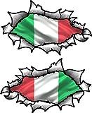 klein Hand Paar OVAL gerippt offen Zerrissen Metall effekt design mit Italien italienische Flagge Vinyl Motorrad Helm Aufkleber 85x50mm each