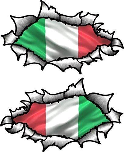 PICCOLO Handed Paio Di OVALI SQUARCIATO APERTO STRAPPATO effetto metallo Design Con Italia Italiano Bandiera Vinile Casco Da Moto Adesivo 85x50mm cadauno