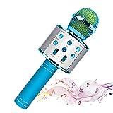 Microphone Sans Fil Karaoké,Haut-Parleur Bluetooth Intégré, Karaoké Portable pour Chanter, Compatible avec les smartphones Android/IOS/PC,Cadeau enfant/Parti préféré. (Bleu ciel)
