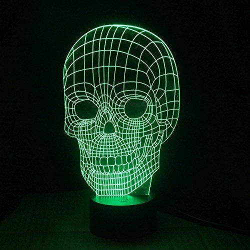 Boweike 3D Lampada da Tavolo LED Luce Tridimensionale a Forma Teschio Visivo Illuminazione Creativa Romantica USB Casa Decorazione Festa Natale Home Decor Camera da Letto Bar