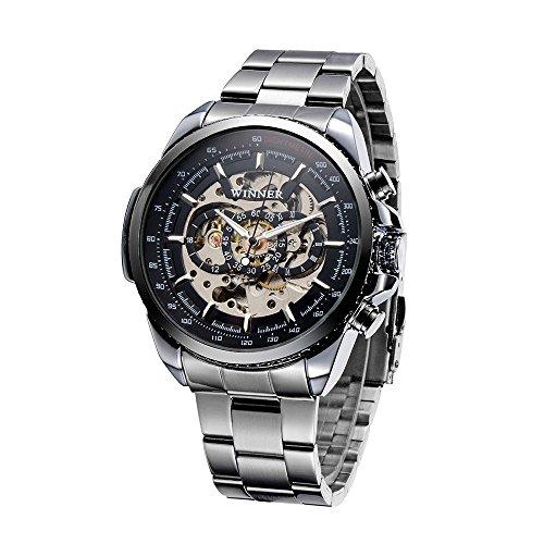 WINNER Ausgehöhlte halbautomatische mechanische Uhr Business Uhr Handaufzug Man Armbanduhr