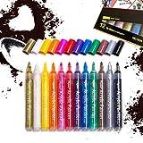 12 marqueurs de peinture acrylique, de couleurs vives, avec une pointe fine de 2 à 3mm, possibilité de peinture sur plastique, métal, tissu, toile, verre ... résistants au soleil et water-proof