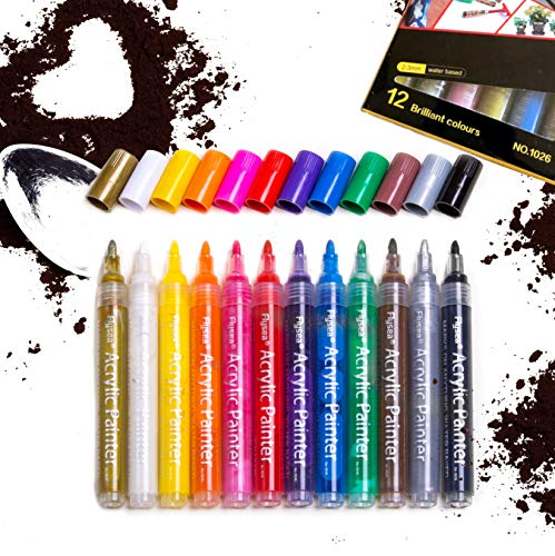 Acrylstifte Marker Stifte, 12-kräftige Farben, feine Spitze 2 - 3 mm, malt dauerhaft auf Stoff, Glas, Leinwand, Kunststoff, Metall usw., gegen Sonneneinstrahlung, wasserdicht, markiert auf allem (Leinwand Malt)