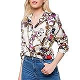 MEIbax Damen Langarm Ketten Print Bluse Elegante Schicke Freizeithemd Tops V-Ausschnitt T Shirt Sommer Oberteil