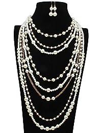 ed8e685fda3f Baoceor Collar de Mujer Conjunto de aretes y Collar de Gargantilla de racimo  de Perlas de