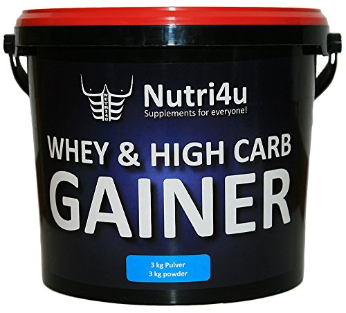 Nutri4u WHEY & HIGH CARB GAINER, Erdbeere, Weight Gainer, (1 x 3 kg)
