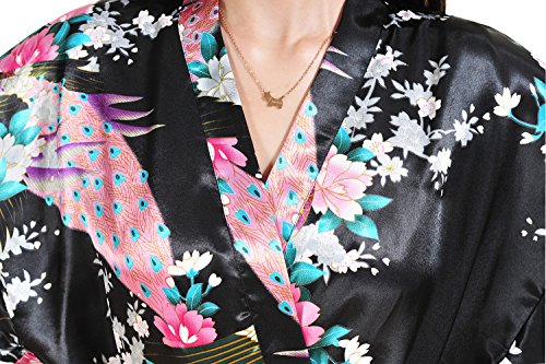 Yidarton Kimono Femme Fleurs Paon Modèle Soie Artificielle - Peignoir Femme Satin Cardigan Robe Chemise de Nuit Noir
