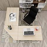 DlandHome L Scrivania del Computer 150 CM + 150 CM Ufficio a casa PC Portatile Workstation di Studio Tavolo angolare con Supporto CPU, Acero & Bianco