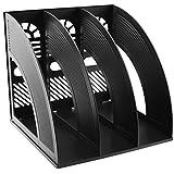 Plástico Archivo Organizador de escritorio, escritorio sayeec resistente triplicado revista titulares documento archivo de marcos divisores gabinete Rack de almacenamiento y organizador pantalla caja, color negro