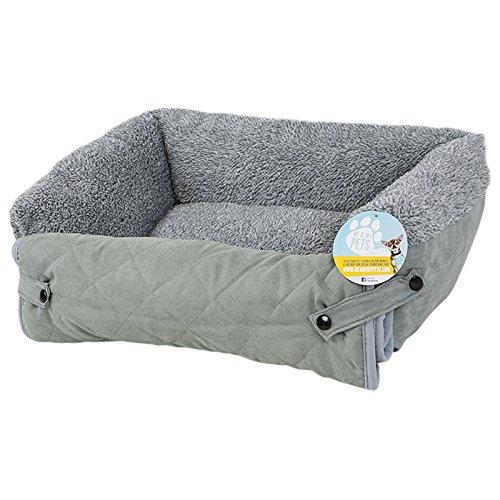 Me & My Pets - Fleece-Haustierbett mit Sofa-Schoner für Hunde/Katzen - Grau - Größe wählbar