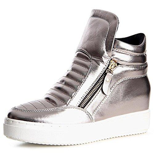topschuhe24 970 Damen Sneaker Keilabsatz Hidden Wedges Grau