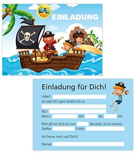 15er Kartenset Einladungskarten Kindergeburtstag, Geburtstagseinladungen Piraten, Seeräuber, Party-Einladungen