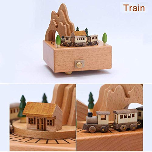 Wooden Music Box Toy Music Box Decoration Childrens Music Toys Birthday Present Desktop Decoration For Kids (A: Small Train)