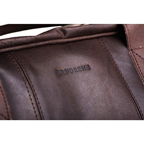 Brodrene Echtes Leder Herren Reisetasche Sporttasche Wochenende Schulter Premium Tasche Premium BL10 (Braun/Schawrz) DunkelBraun/Rot