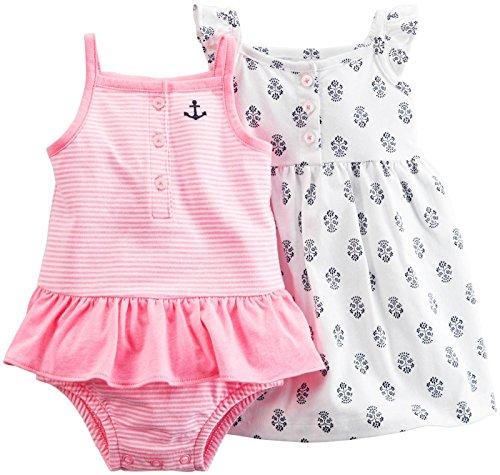 Carter's Babykleid + Spieler Sommer Mädchen 2 Stück Kleid girl dress Mädchen (6 Monate, pink/weiss/dunkelblau) (Carters 2 Mädchen Stück)