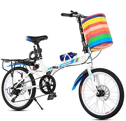 Pkfinrd 20-Zoll-faltendes Fahrrad Shifting - Männer und Frauen-Stoßdämpfer Fahrrad - Doppelscheibenbremse Folding Fahrrad-Schaltung, Schwarz (Color : Blue)