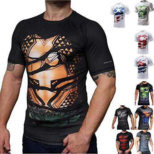 Khroom Hochwertiges Herren Funktionsshirt | Perfekt für Fitness & Gym - Kompressionsshirt im stylischen Helden Design (Aquaman, S)