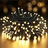 BrizLabs 100 LED Weihnachts Lichterkette Außen Warmweiss Außenbeleuchtung Batterienbetrieben 8 Modi Wasserdicht mit Timer und für Innen Baum Zimmer Party Garten Beleuchtung Deko, Grünes Kabel