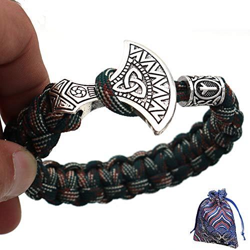 WLXW Nordische Mythologie Odin Ray Gott Hammer Axt Tote Armband, Vintage Religiöse Amulett Armband Armband Boutique Geschenkbeutel, Modeschmuck Männer,21CM