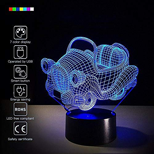 der Illusions-Nachttisch-Lampen-LED 3D 7 Farben, die das Schlafen ändern, beleuchten kreatives Neuheitsgeschenk für Feiertagsdekoration der Kinder,Spielzeugauto ()