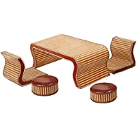 Naturale bambù - rattan vimini scrivania e sedia impostare / tavolo e sedia set / sedie per tavolo suite / posti / sedia / tavolino da salotto / tavolo da tè / tavolinetto a tre gambe / tavolino / fine tabella