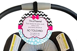 Prem Baby Preemie Car Seat Sign to Not Touch Baby