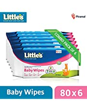 Little's Soft Cleansing Baby Wipes (Pack of 6, 80 Wipes)