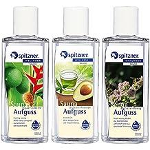 """Lot Infusion pour sauna Force verte: """"Thé vert-avocat"""" / """"Gingembre-Citron vert"""" / """"Mélisse-Miel"""" (3x190 ml) de Spitzner"""