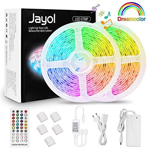 LED Strip Dreamcolor 10m, Sync mit Musik LED Stripes Lichtband, Eingebauter Digital IC, Timerfunktion, Ein-Tasten-Dimmen, 2811 RGB Strip wasserdichte LED Lichterkette für Deko Party (Dreamcolor)